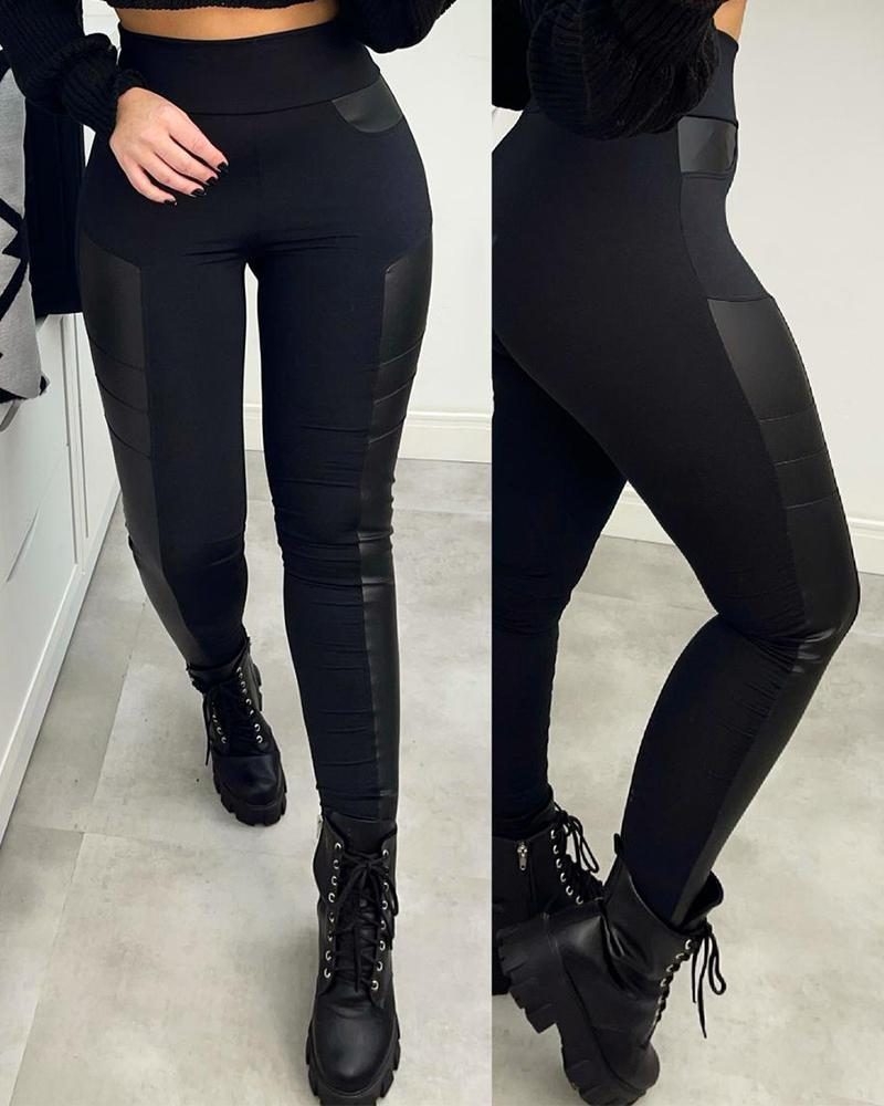 High Waist PU Leather Patch Skinny Pants Basic Slim Skinny Trousers