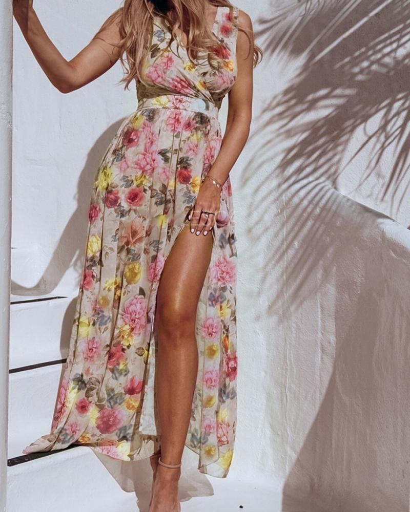 Vacation Style All Over Print Skinny Waist Sleeveless Slit Chiffon Maxi Dress thumbnail