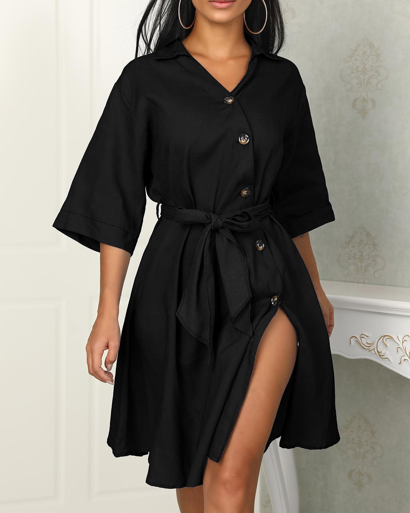 Boutiquefeel coupon: Button Design Tied Waist Denim Shirt Dress