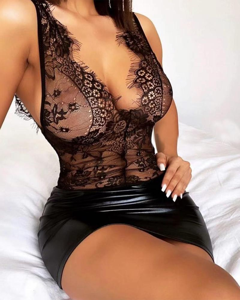 Contrast Lace PU Leather Babydoll With Thong