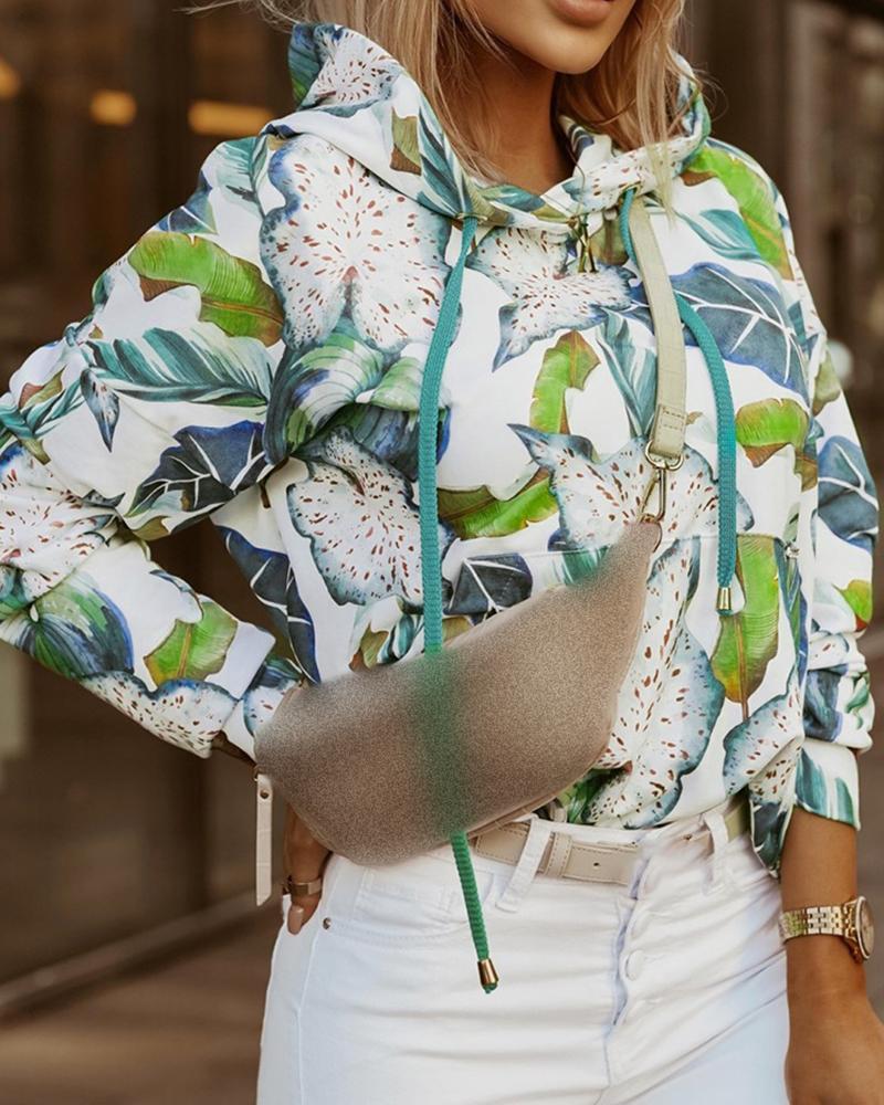 Sweat-shirt à capuche avec cordon de serrage et imprimé feuille à manches longues