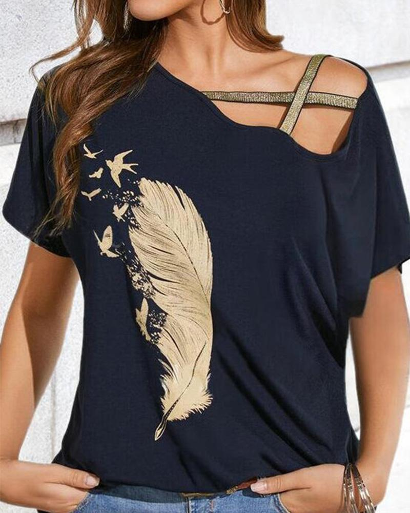 Feather Print Hollow-out Short Sleeve T-shirt