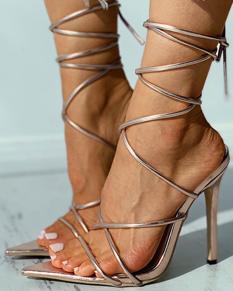 Pointed Toe Strappy Stiletto Heel