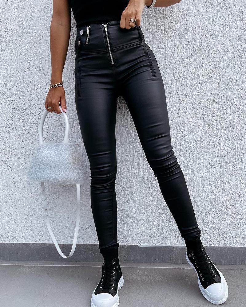 PU Leather Zipper Design High Waist Pants