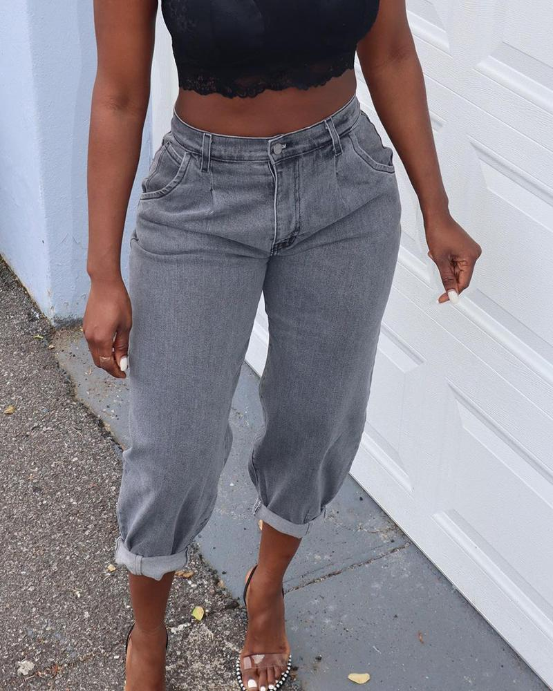 Single Button Pocket Design Casual Jeans