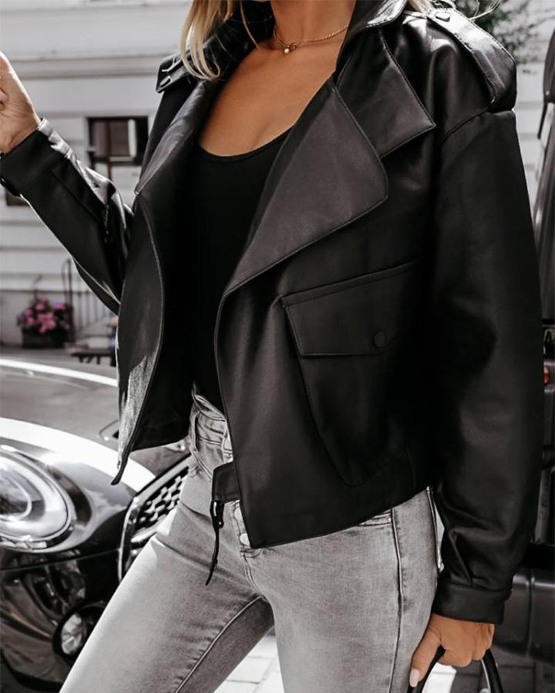 PU Leather Flap Pocket Button Detail Biker Jacket thumbnail