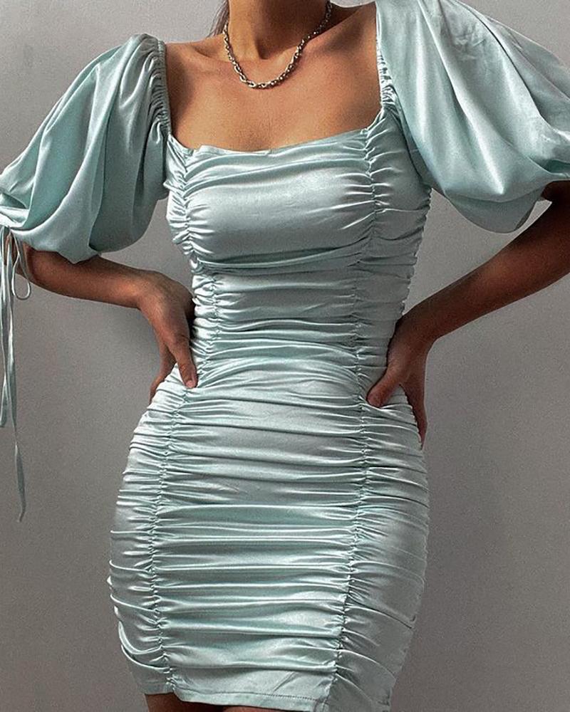 Puff Sleeve Drawstring Ruched Satin Bodycon Dress