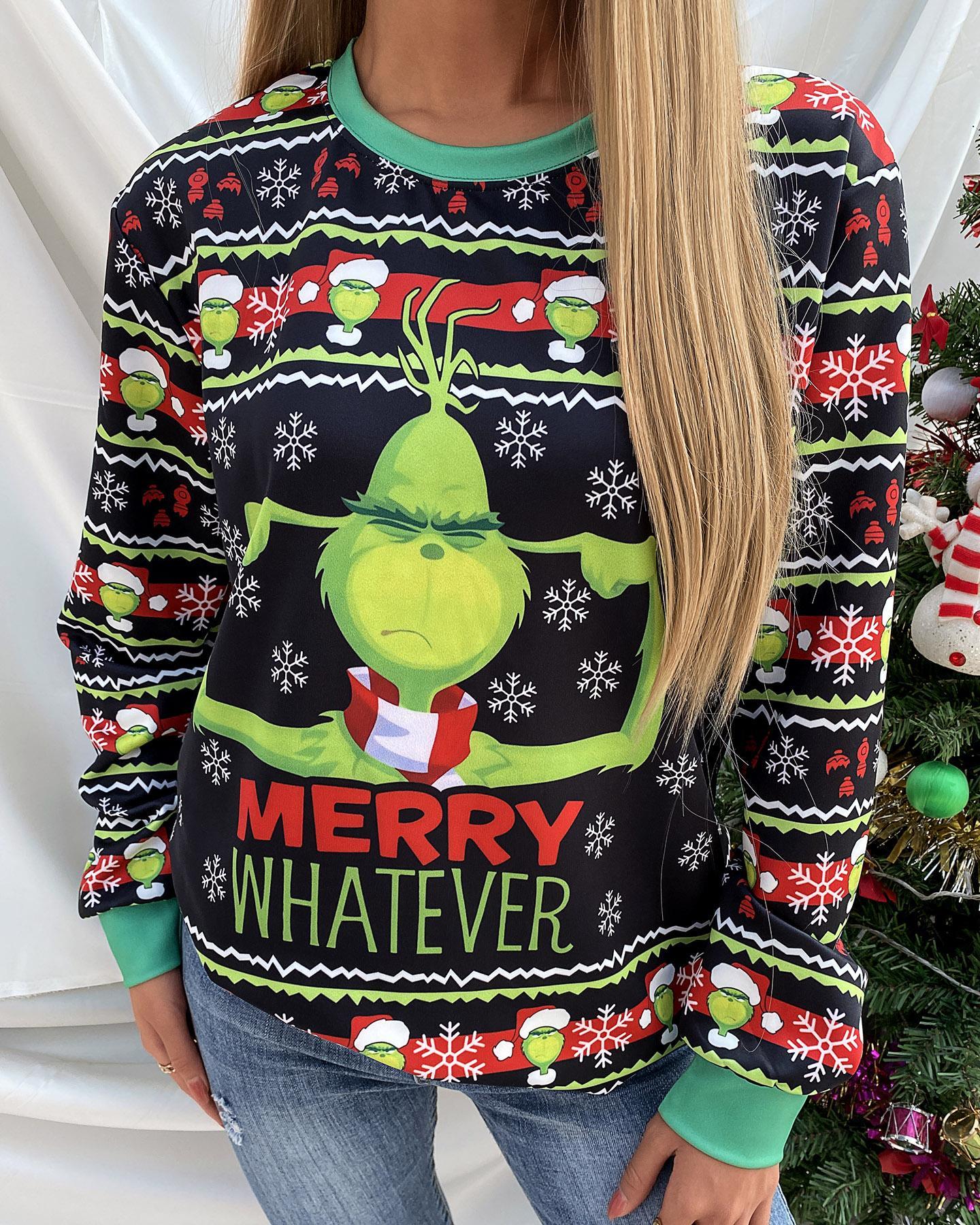 Christmas Cartoon Print Long Sleeve Sweatshirt
