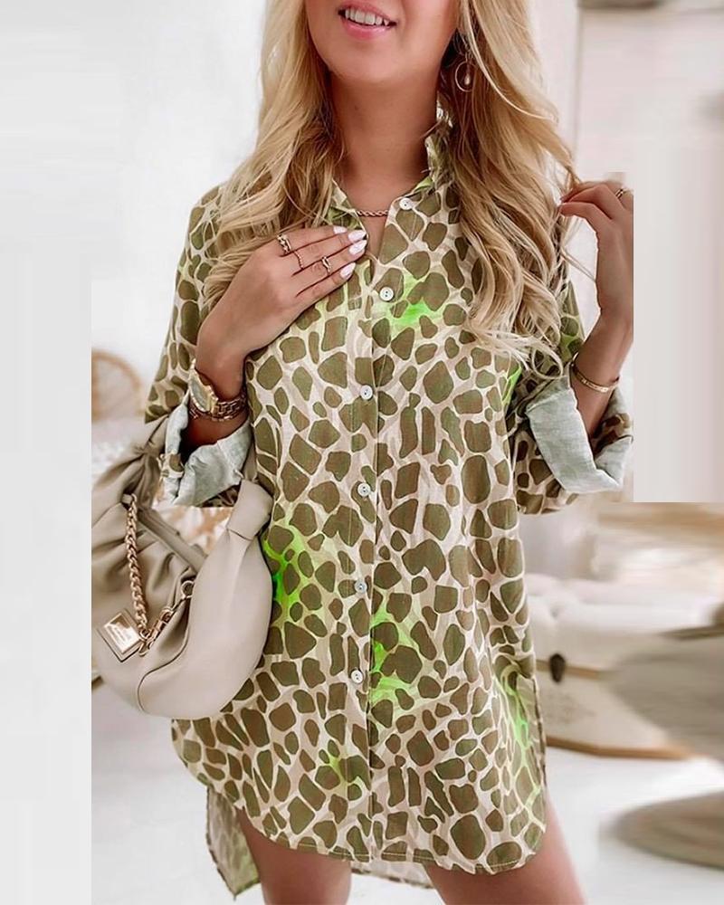 Leopard Print High Low Split Hem Button Up Blouse