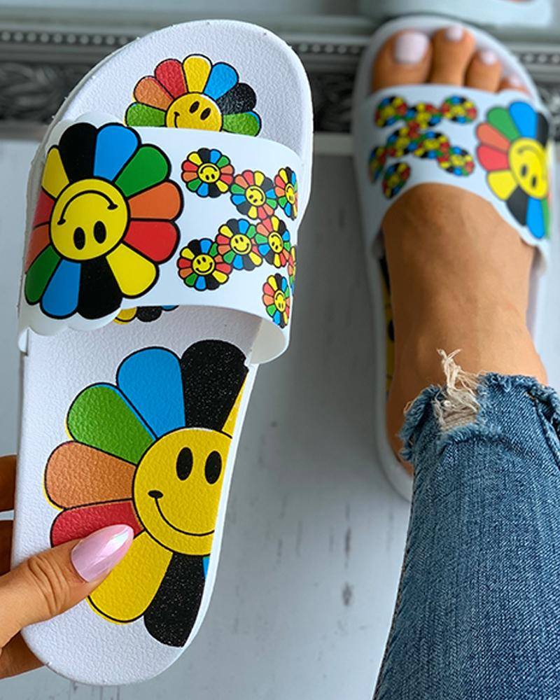 Cartoon Sunflower Pattern Print Flat Sandals, boutiquefeel, white  - buy with discount