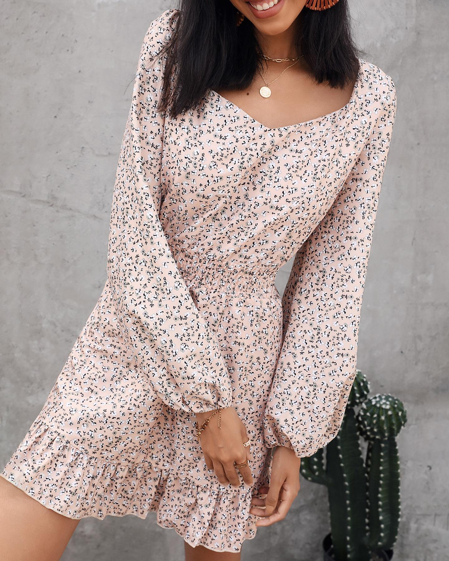 Ditsy Floral Print Bloomer Sleeve Ruffles Skinny Waist Dress, Khaki