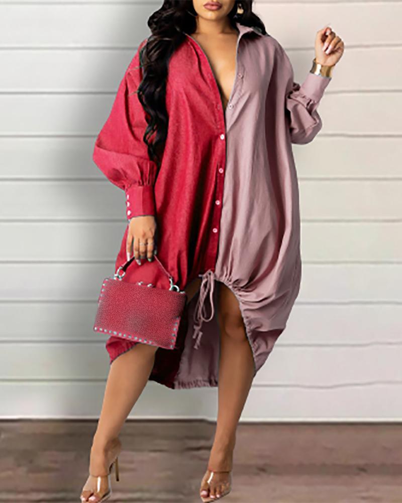 Lantern Sleeve Button Front Colorblock Denim Shirt Dress, Red