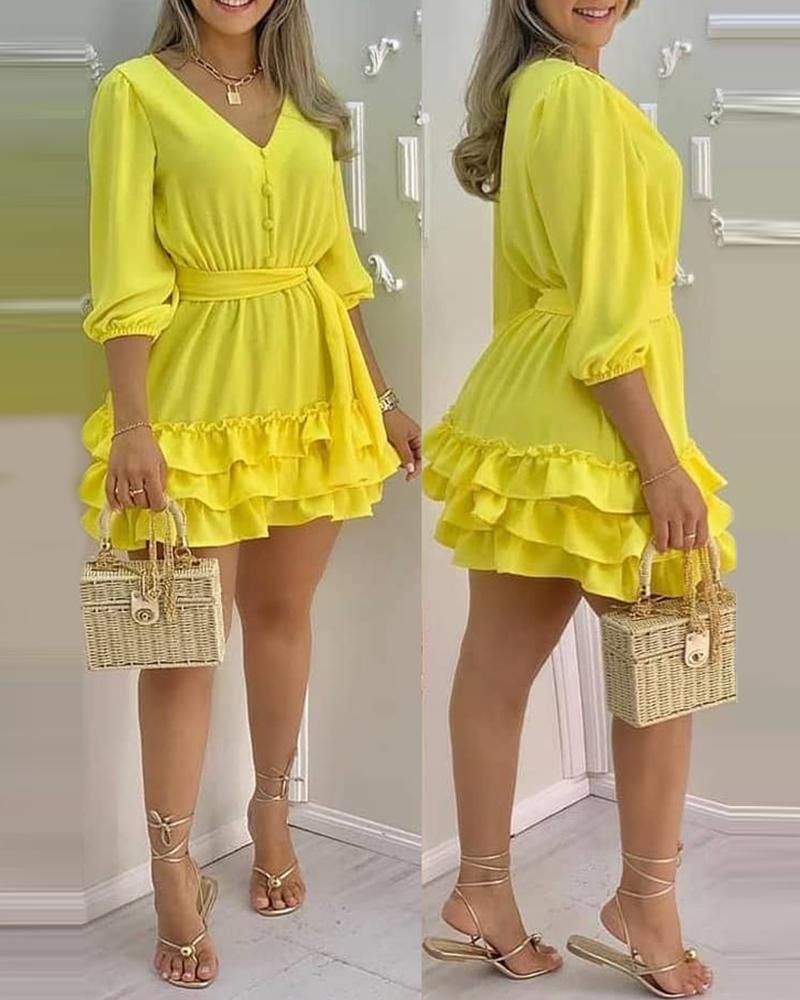 V-Neck Layered Ruffles Frill Hem Casual Dress, Yellow