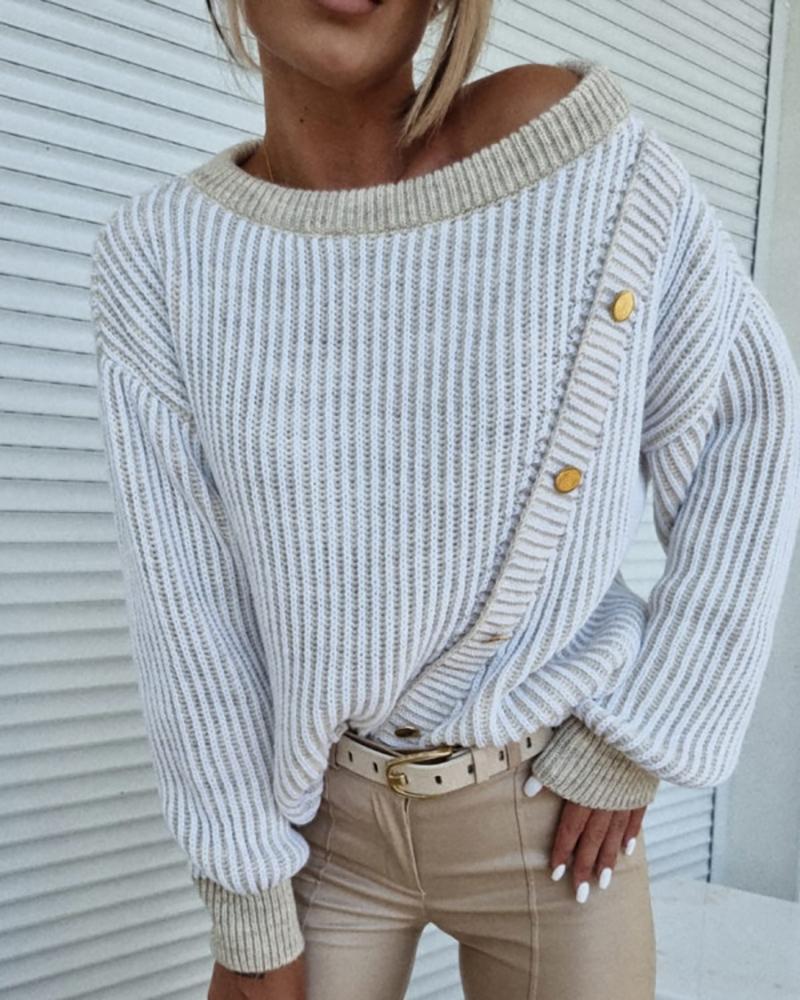 Colorblock Button Decor Long Sleeve Knit Sweater
