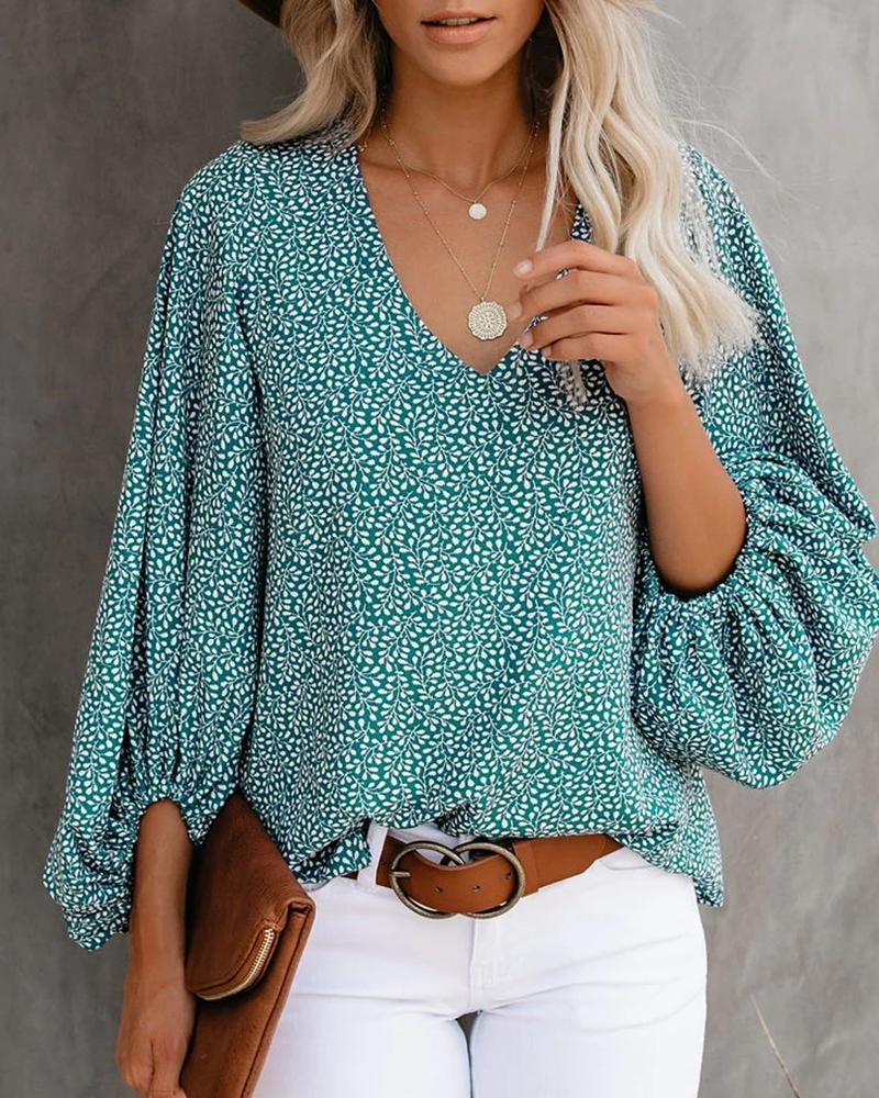Blouse Shirt Floral Flower Long Sleeve Print V Neck Tops Lantern Sleeve Basic Top, ivrose, green  - buy with discount