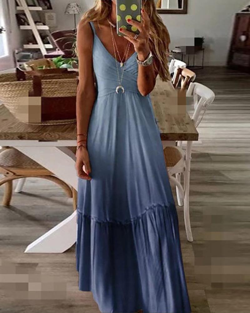 Frill Hem Ombre Color Maxi Dress thumbnail