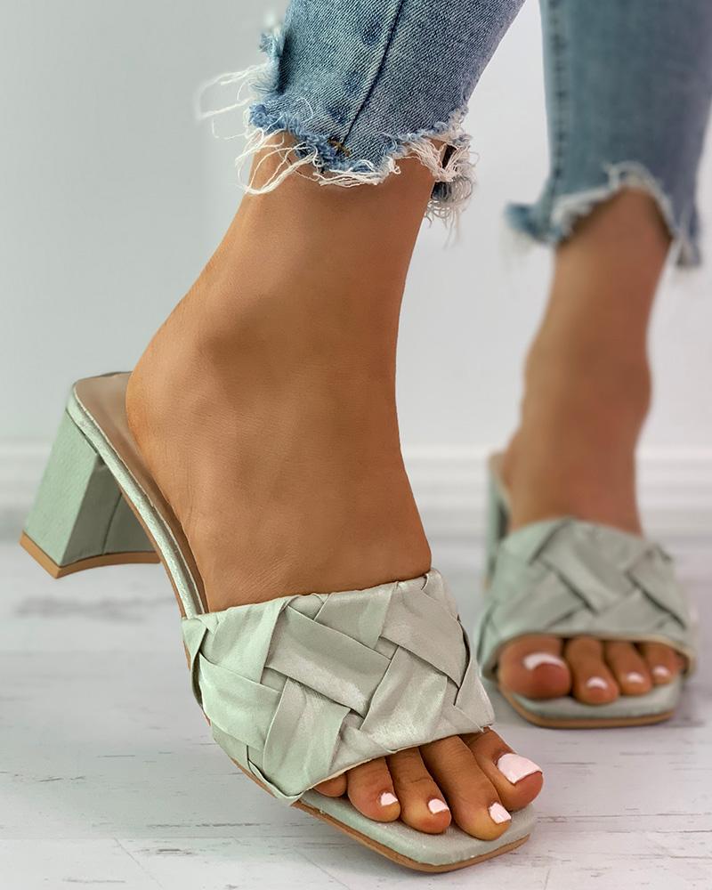 Braided Square Toe Chunky Heels