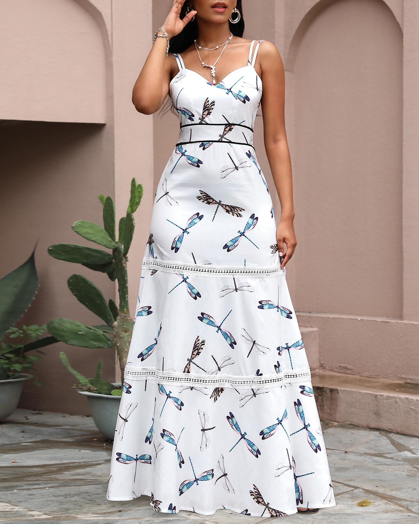 Print V Neck Spaghetti Strap Dress, boutiquefeel, white  - buy with discount