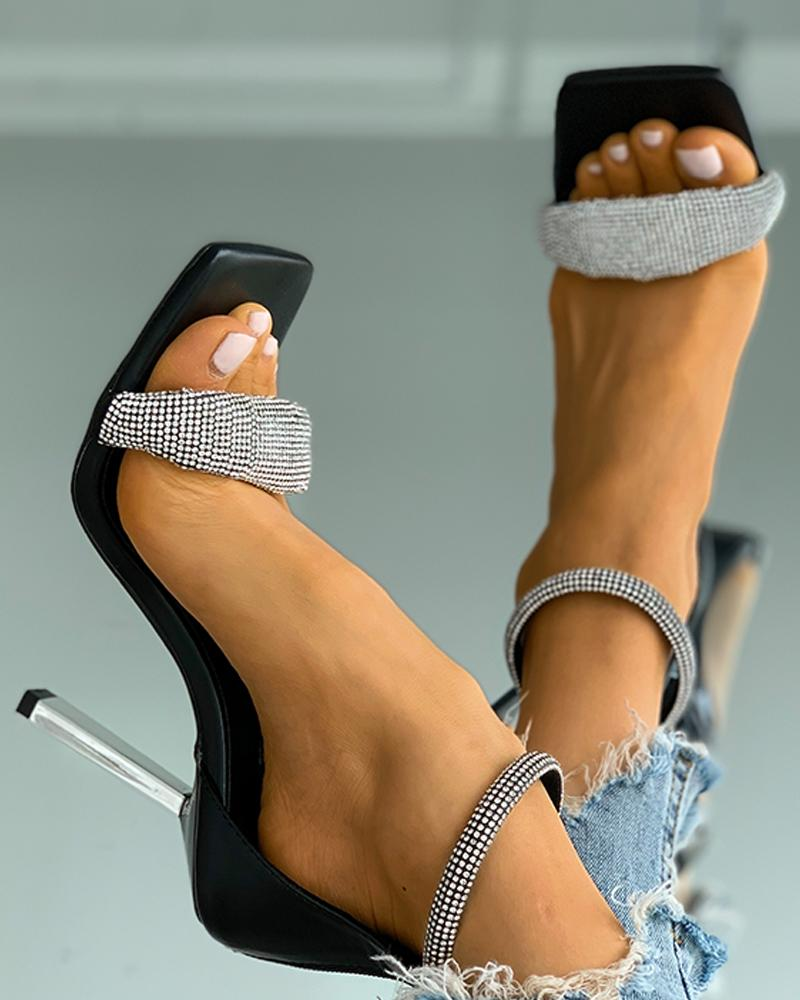 Studded Ankle Strap Square Toe Stiletto Heels