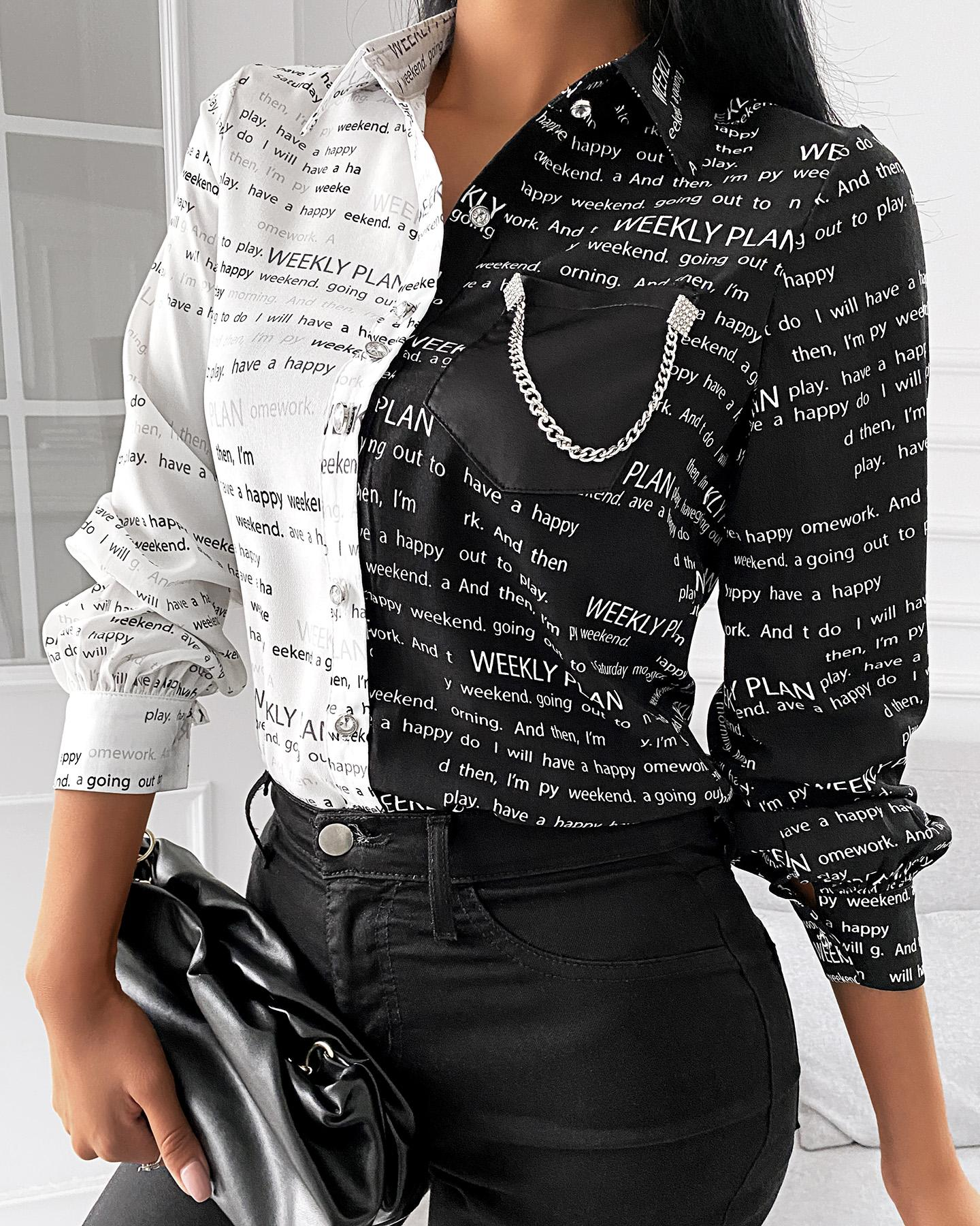 Camisa de manga larga con estampado de letras