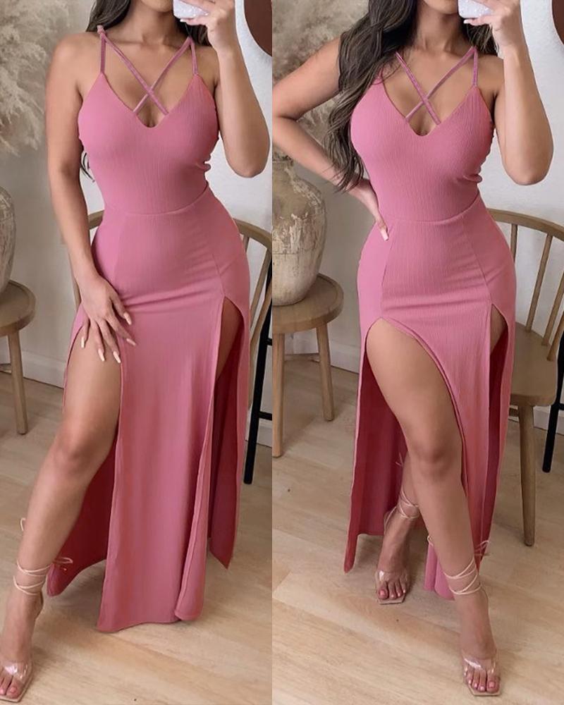 Crisscross Cutout High Slit Maxi Dress