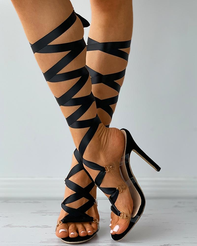 Clear Perspex Strappy Stiletto Heels thumbnail