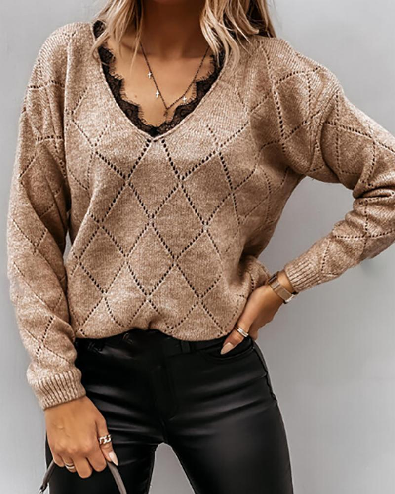 Lace Trim Hollow-out Long Sleeve Knit Sweater