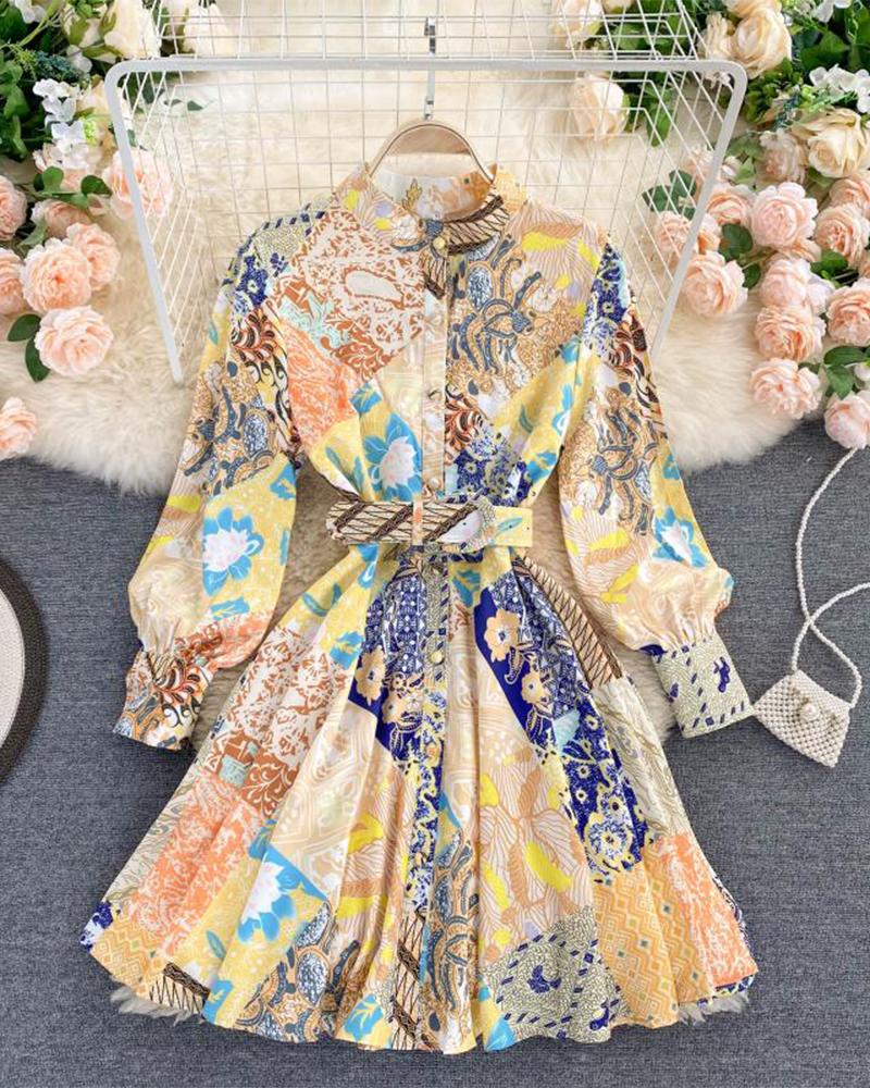 Vintage Style Print Long Sleeve Mini Dress With Belt