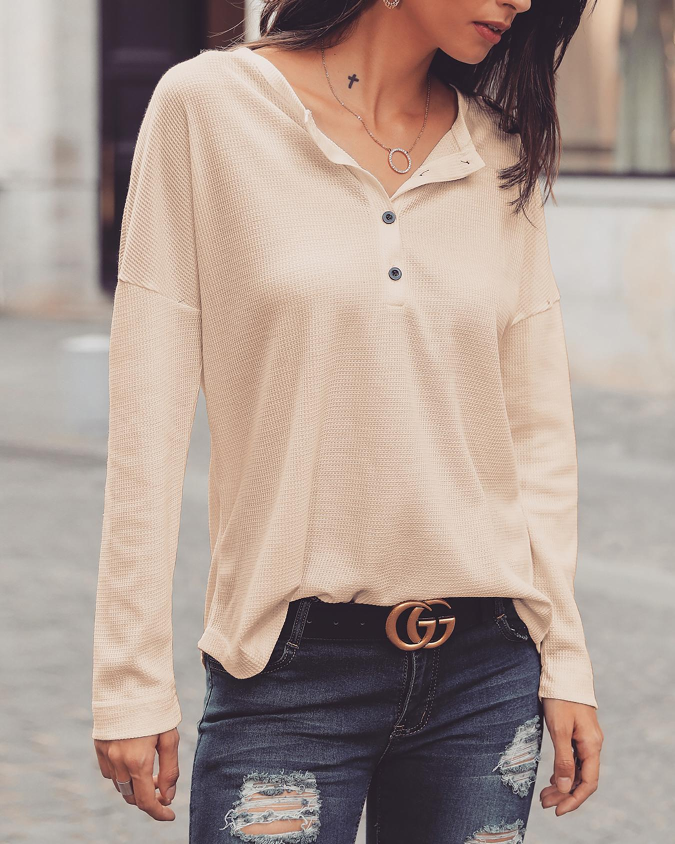 ChicMe coupon: Solid Button Design Casual Blouse