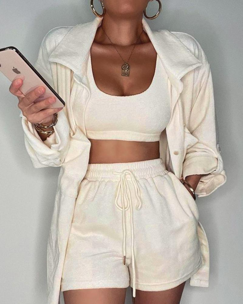 Crop Tank Top & Drawstring Pocket Shorts With Button Through Roll Up Sleeve Coat Set