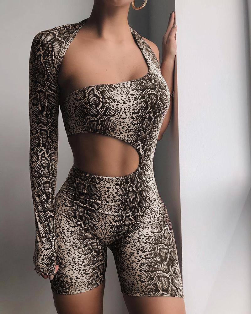 Snakeskin Print Asymmetrical Cut-Out Skinny Romper