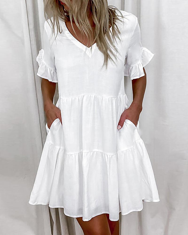 V Neck Ruffles Hem Plain Casual Dress