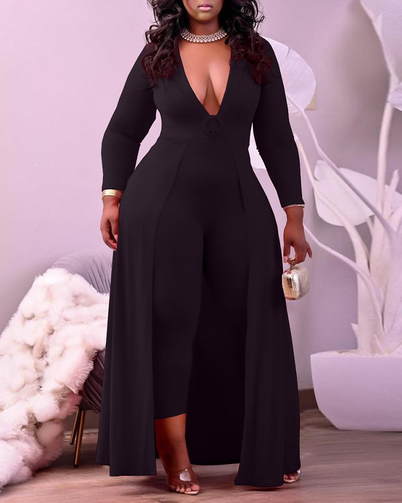 Long Sleeve Plunge Jumpsuit O Ring Decor With Cover Up thumbnail
