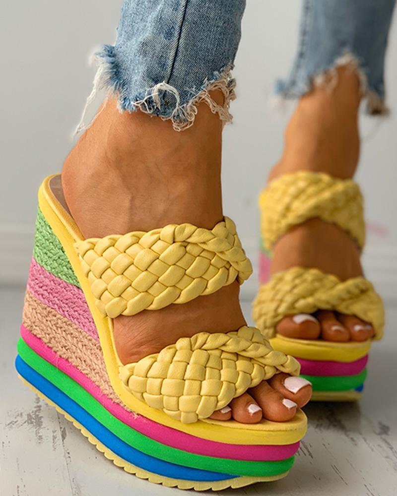 Braided Colorblock EspadrilleWedge Sandals