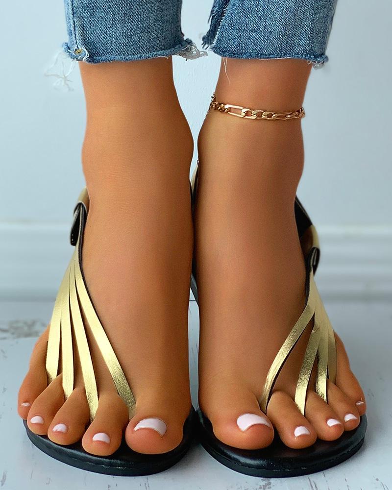Multi Strap Toe Post Slingback Flat Sandals