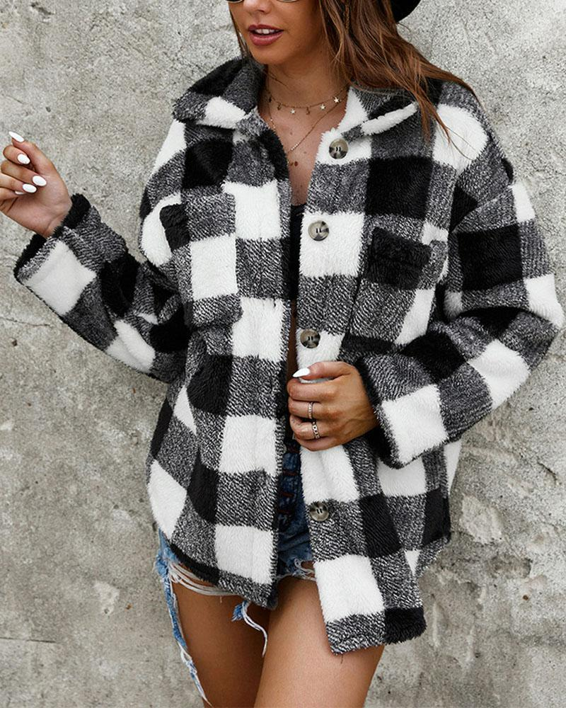 Gingham Long Sleeve Button Down Teddy Coat