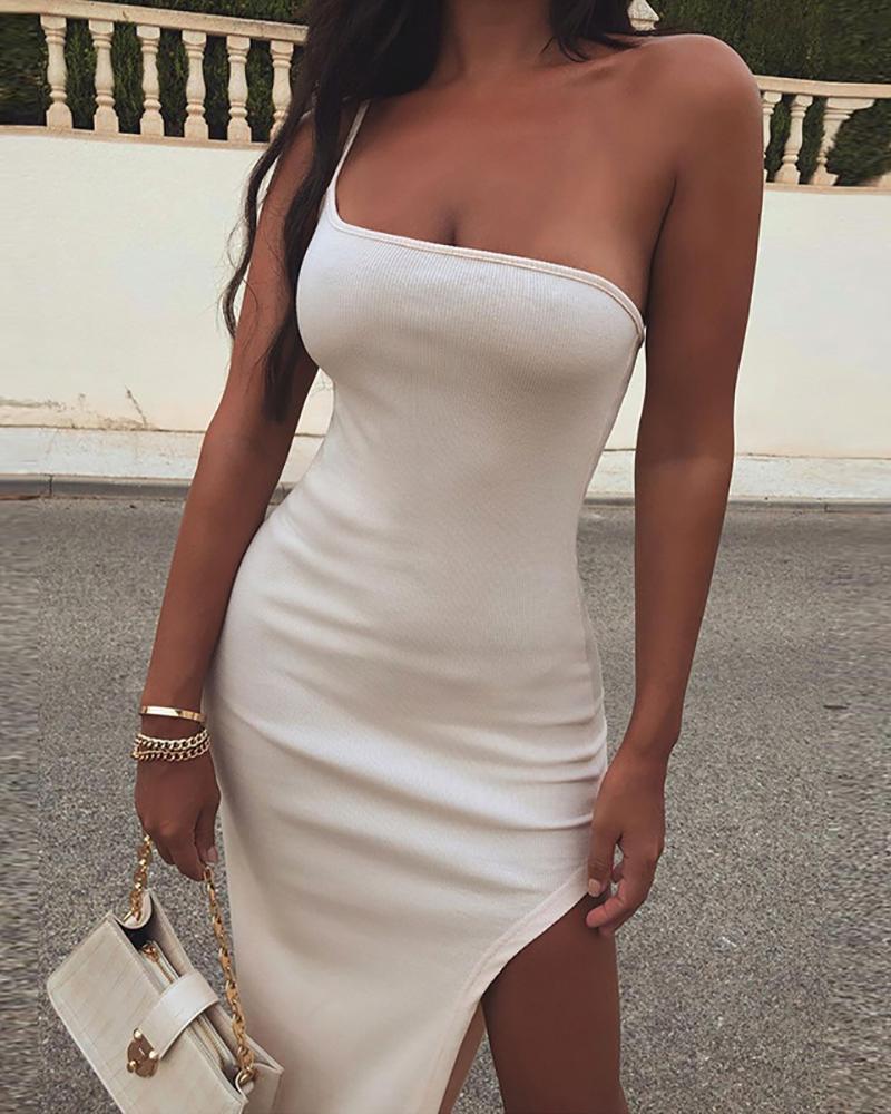 One Shoulder Slit Asymmetrical Party Dress