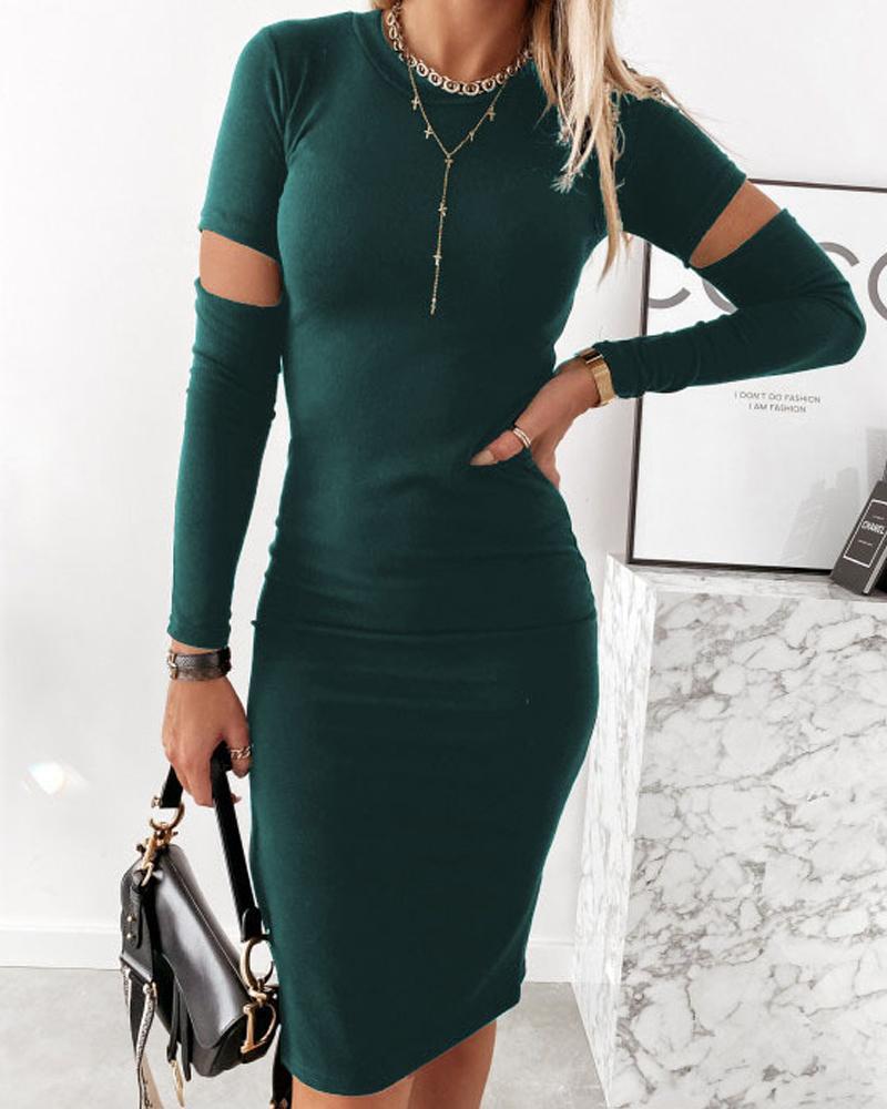 Cutout Long Sleeve Skinny Work Dress