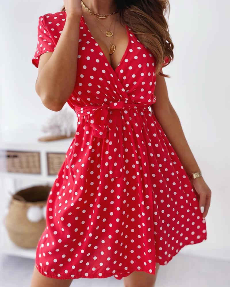 Lace-up Polka Dot Short Sleeve Mini Dress thumbnail