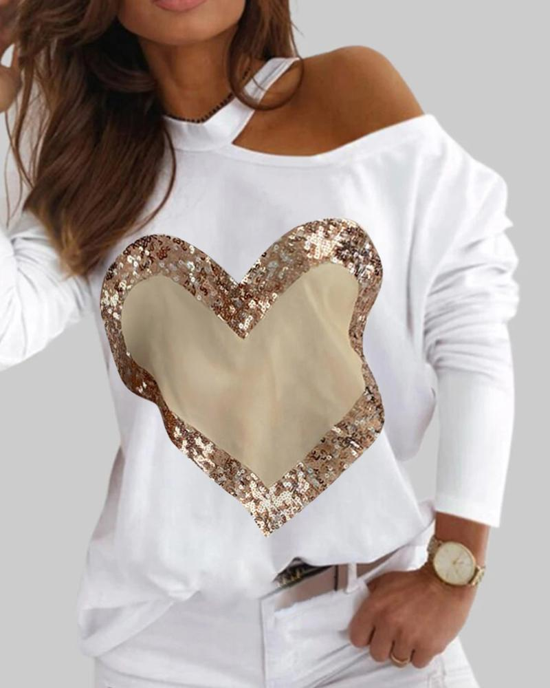 Heart Print Contrast Sequin One Shoulder Long Sleeve Top