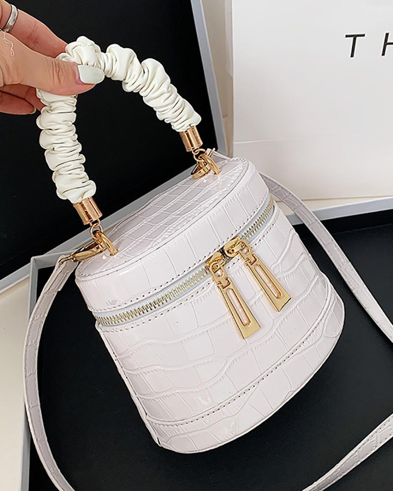 Croc Embossed Zip Ruched Bucket Bag, boutiquefeel, white  - buy with discount