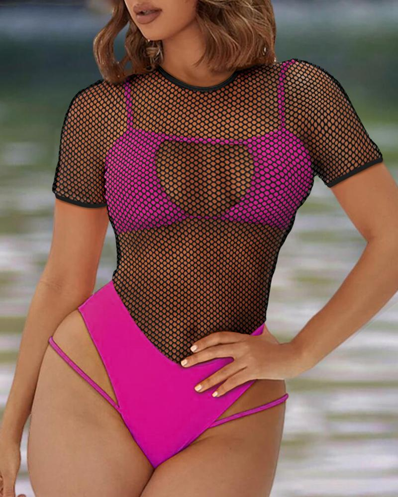 Ivrose coupon: Fishnet Cutout One Piece Swimsuit With Lining