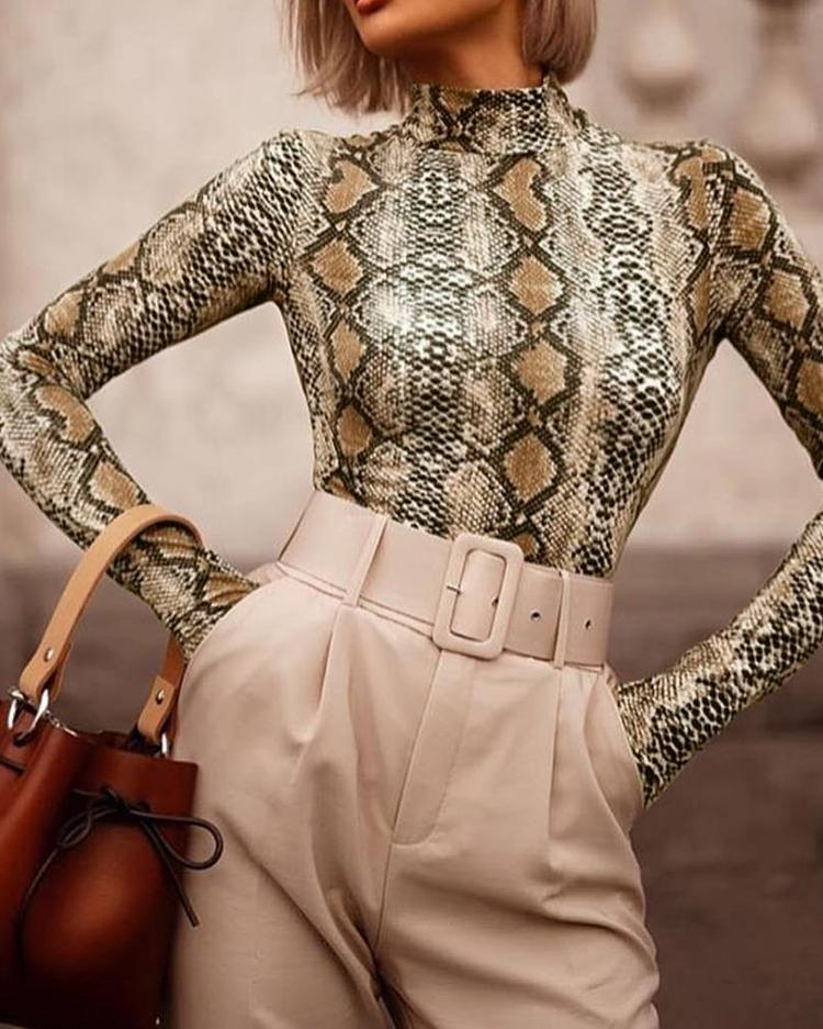 ChicMe coupon: Snakeskin Print Mock Neck Long Sleeve Blouse