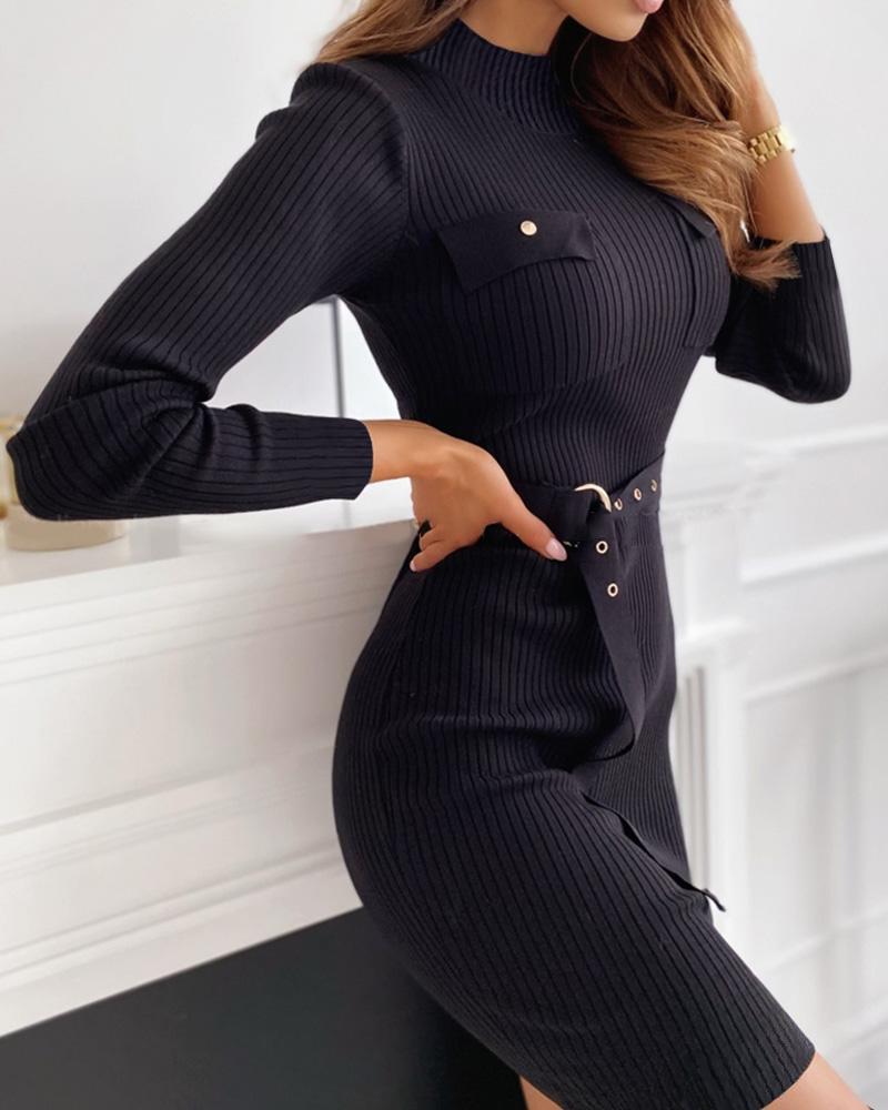 Plain Long Sleeve Pocket Design Sweater Dress